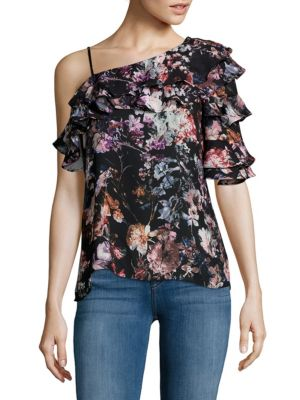 ONE-SHOULDER FLORAL RUFFLE BLOUSE