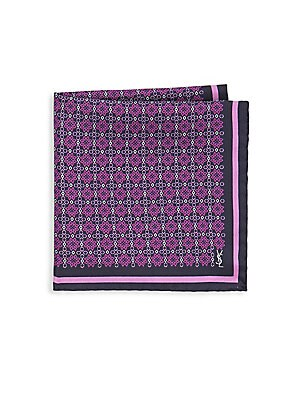 Geometric Design Silk Pocket Square