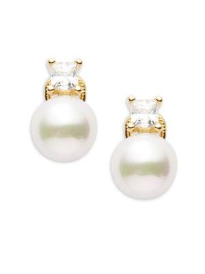 10MM White Faux Pearl  Sterling Silver Hollow Fill Earrings Majorica