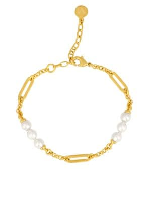 Modern Metal 6MM- 8MM Organic Man-Made Pearls Goldplated Bracelet Majorica