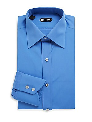 Cotton Dress Shirt with 2-Buttoned Barrel Cuffs