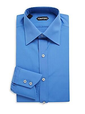 Cotton Dress Shirt with 2-Buttoned Barrel Cuffs