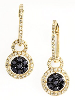 14 Kt. Yellow Gold and Black Diamond Drop Earrings