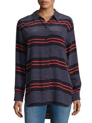 Stripe Silk Casual Button-Down Shirt