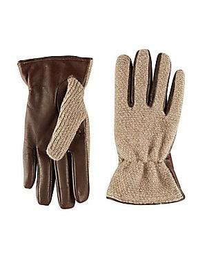 Slip-On Leather and Cashmere Gloves