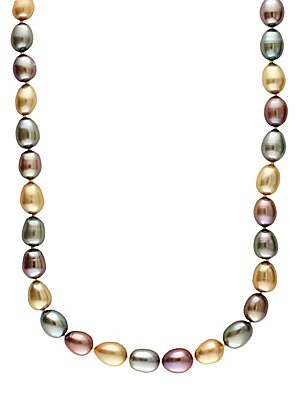 14 Kt. Yellow Gold Multicolor Pearl Necklace