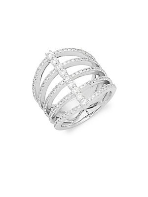 Click here for Diamond & 14K White Gold Five Band Modern Ring prices
