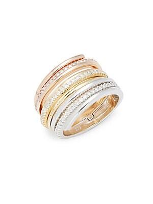 Click here for Diamond & 14K White Rose Yellow Gold Midi Ring prices