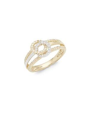 Click here for Diamond & 14K White Gold Double Circle Midi Ring prices