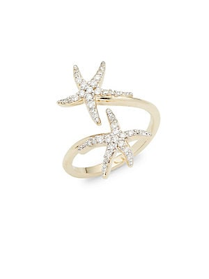 Click here for Diamond & 14K White Gold Double Starfish Ring prices