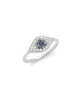 Click here for Diamonds  Blue Sapphire & 14K White Gold Evil Eye... prices