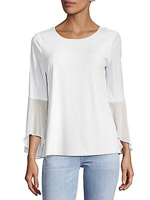 Plain Flare-Sleeve Top