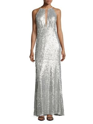 Sequined Halter Gown Adrianna Papell