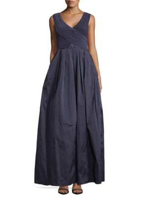Pleated A-Line Gown Adrianna Papell