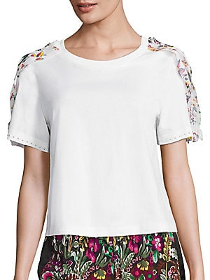 Ribbon Trim Cotton Tee