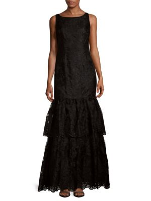 Tiered Embroidered Dress Adrianna Papell