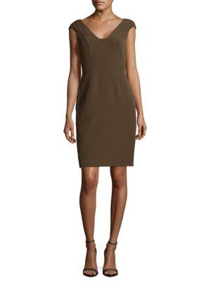 Crepe Sheath Olive Dress Adrianna Papell