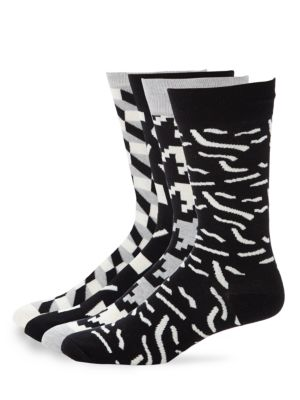 Geometric Print Crew Socks Set Happy Socks