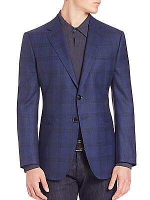 Windowpane Check Wool Jacket