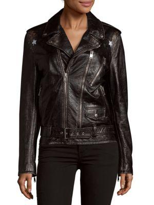 Star Leather Jacket Saint Laurent