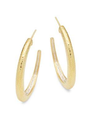 Goldtone Silver Hoop Earrings GURHAN