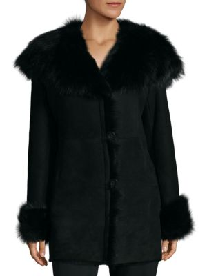 Fitted Shearling Jacket Blue Duck
