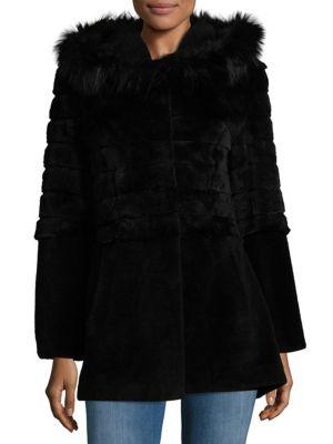 Shearling, Fox Fur  Rabbit Fur Coat Blue Duck
