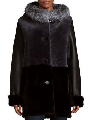 Shearling Hood Jacket Blue Duck