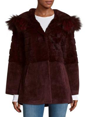 Shearling, Rabbit  Fox Fur Jacket Blue Duck