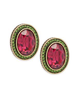 Crystal Oval Button Stud Earrings Heidi Daus