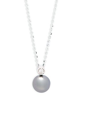 Click here for White Gold  Diamond & Grey Pearl Necklace prices