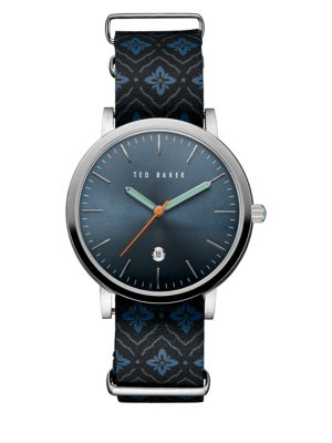 Smart Casual Embroidered Leather Strap Watch Ted Baker