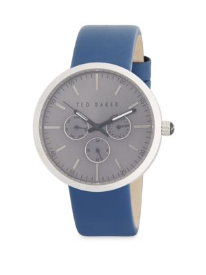 Stainless Steel  Leather-Strap Watch Ted Baker