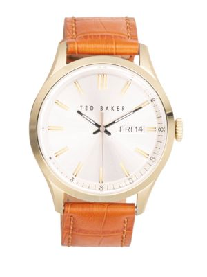 Stainless Steel Brown Leather Strap Watch Ted Baker