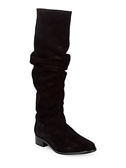 Saks Fifth Avenue - Tall Almond Toe Suede Boots