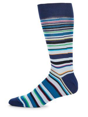 Multicolored Striped Socks Bugatchi