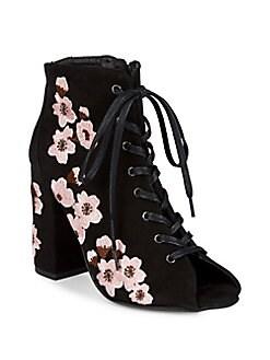 RENVY - Floral Suede Booties