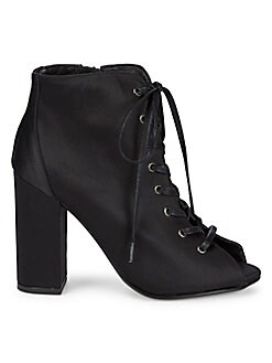 RENVY - Lace-Up Satin Booties