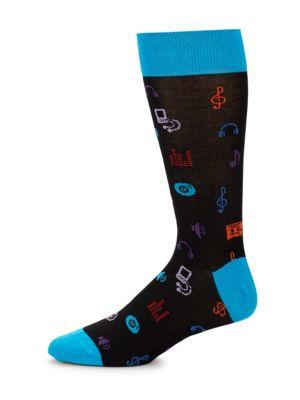 Mercerized Printed Socks Bugatchi