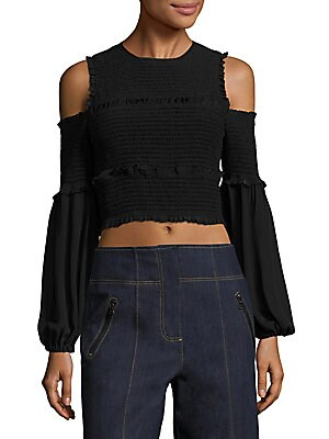 Pascal Smocked Cold-Shoulder Silk Cropped Top