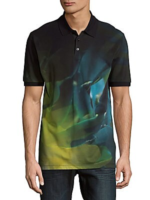 Palm Print Cotton Polo