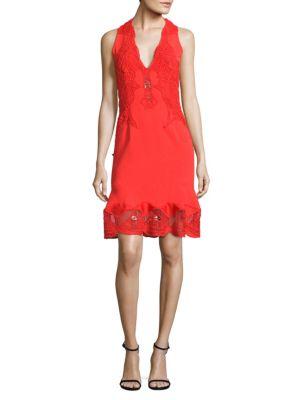 Lace Applique Drop-Waist Dress