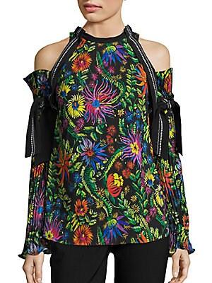 Floral-Print Cold-Shoulder Top