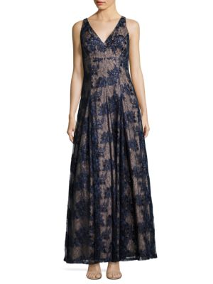 Twilight Fit  Flare Lace Gown Adrianna Papell