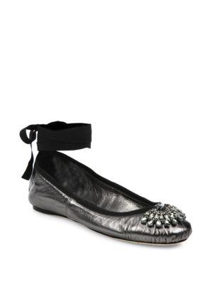 Grace Crystal-Embellished Metallic Leather Ankle-Wrap Ballet Flats