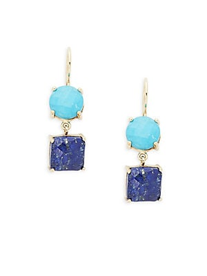 Circle and Square Drop Earrings