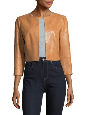 Cropped Leather Jacket Lafayette 148 New York