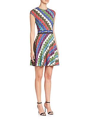 Pinto Cap-Sleeve Lion Stripe Dress