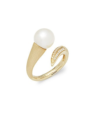 Click here for 14K Yellow Gold  White Round Pearl  and Diamond Ri... prices