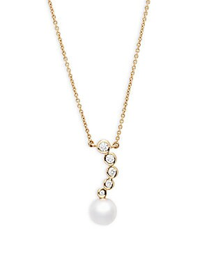 14K Yellow Gold Diamond & Pearl Necklace